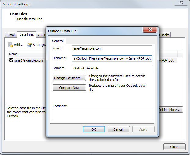 Compacting a PST in Outlook