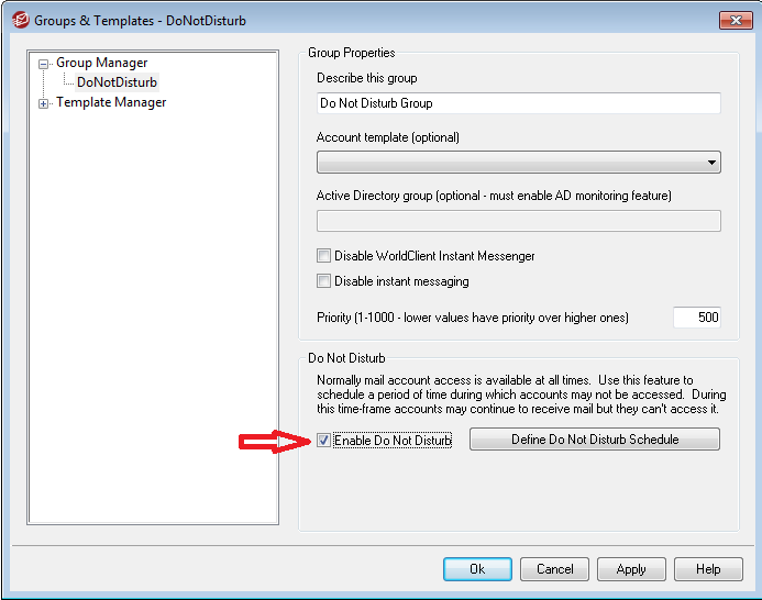 Do Not Disturb Checkbox - MDaemon Groups & Templates