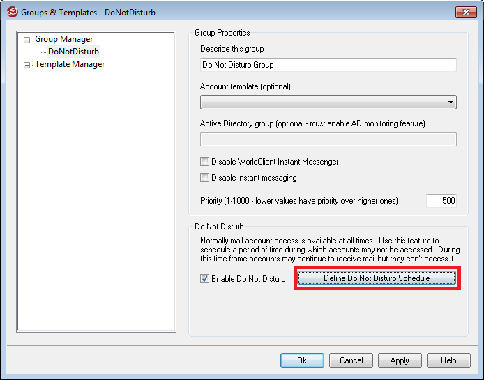 Defining a do-not-disturb schedule for selected accounts in MDaemon