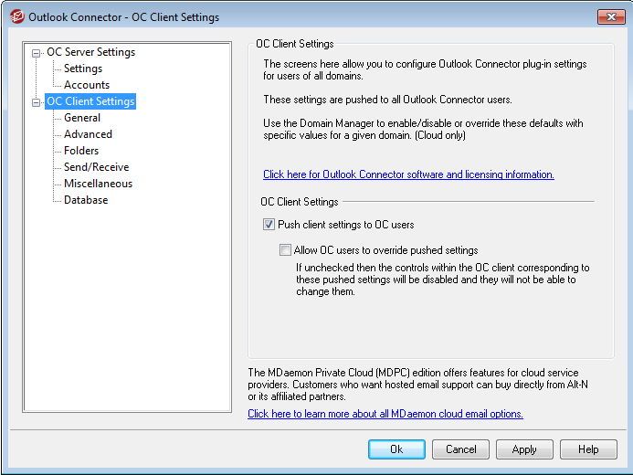 Outlook Connector Client Settings