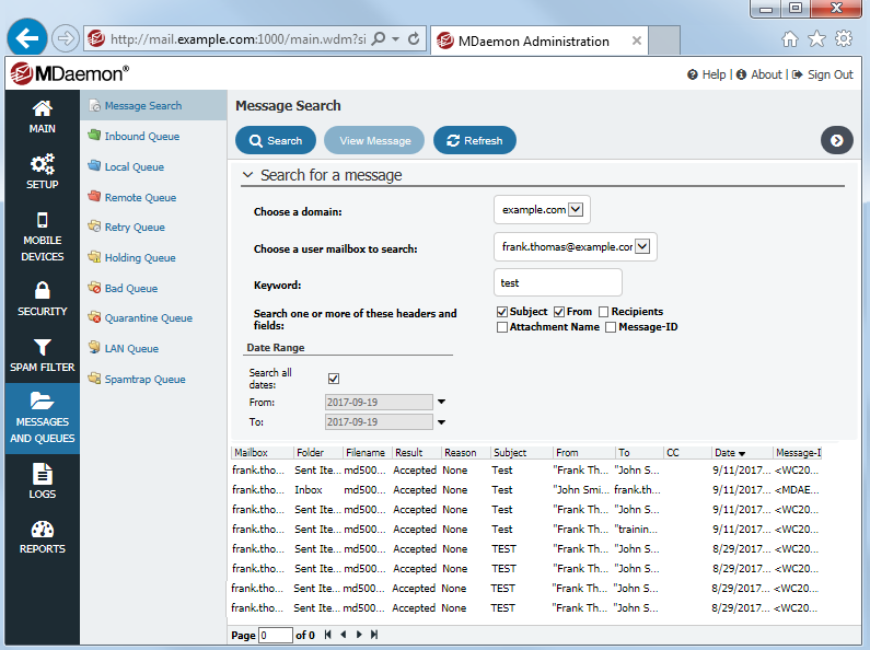 New Message Search for MDaemon Remote Administration