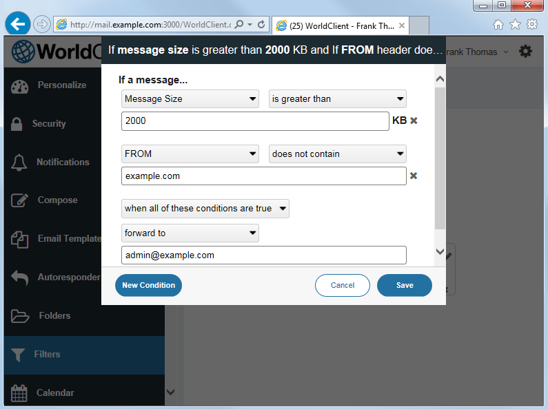 Complex filters for WorldClieint, MDaemon's web-based email client