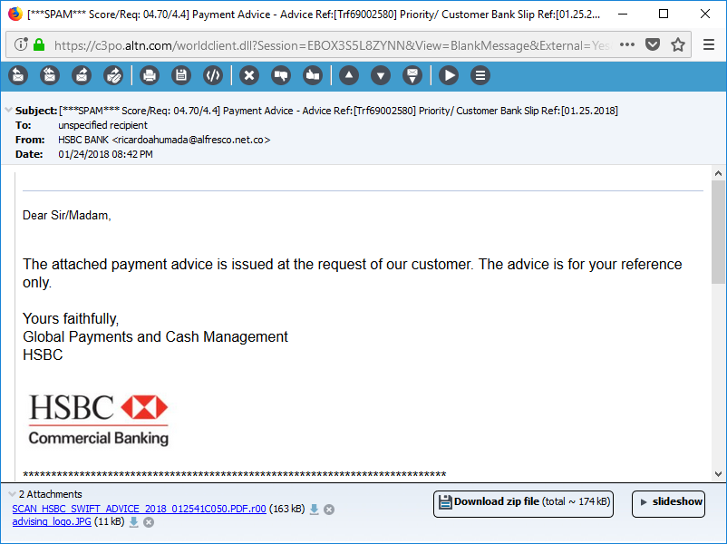 Watch for generic signatures in phishing email messages.
