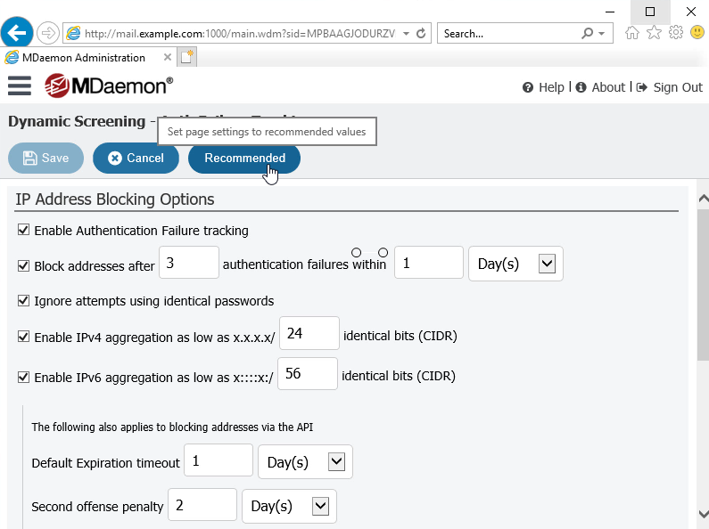 MDaemon Remote Administration - Set Security Settings to Recommended Values