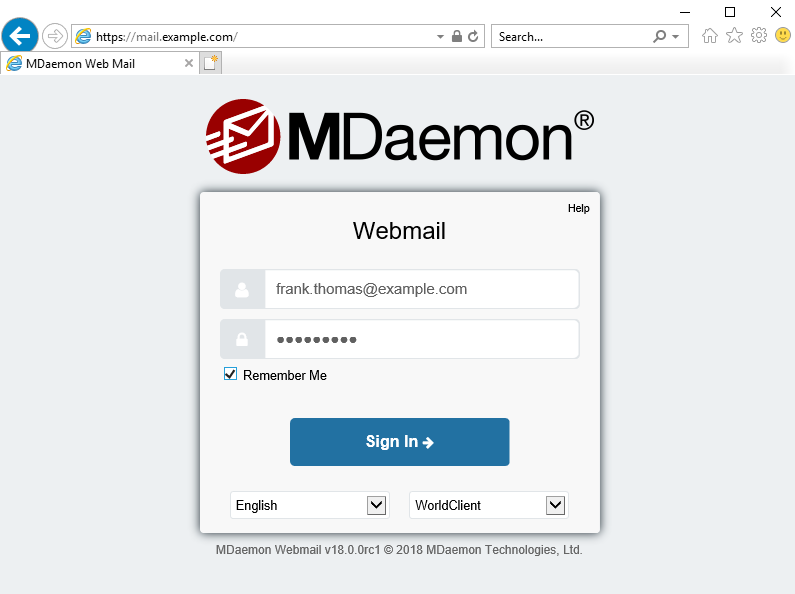Remember Me for MDaemon Webmail and Remote Administration