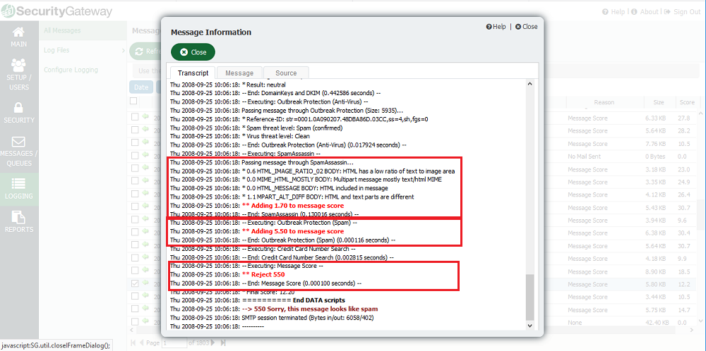 Message tracking with color-coded events for easy troubleshooting