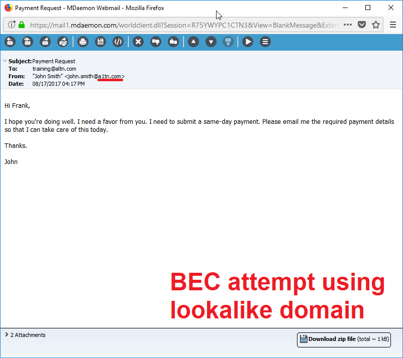 Business Email Compromise email using lookalike domain