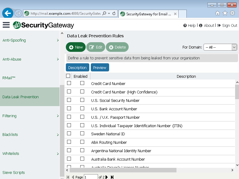 Prevent leaks of sensitive data with Security Gateway