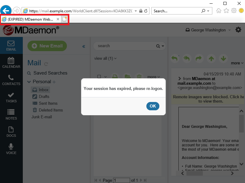 MDaemon Webmail Expired Session Notification