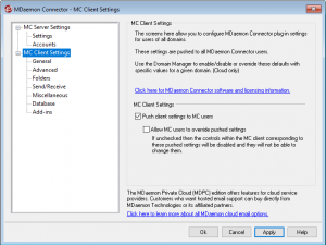 MDaemon Connector for Outlook Client Settings
