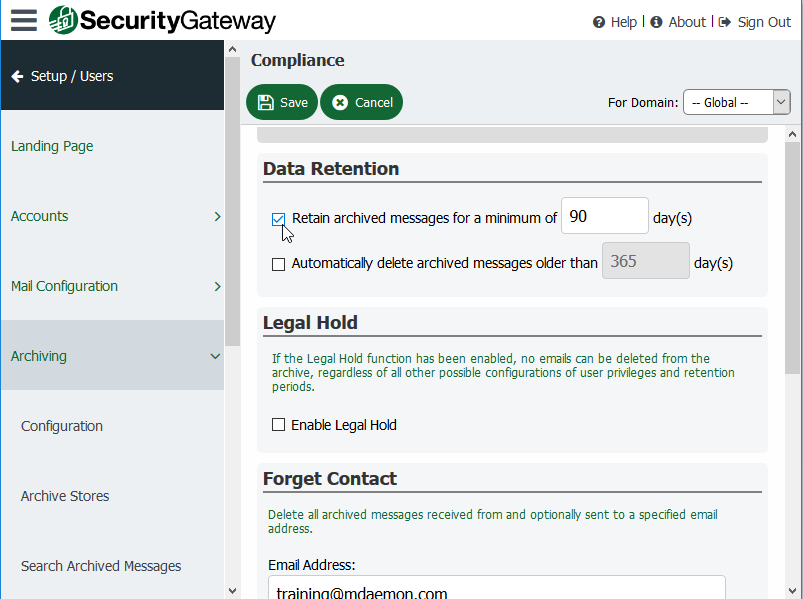 Email Retention Period - Security Gateway for Email Servers