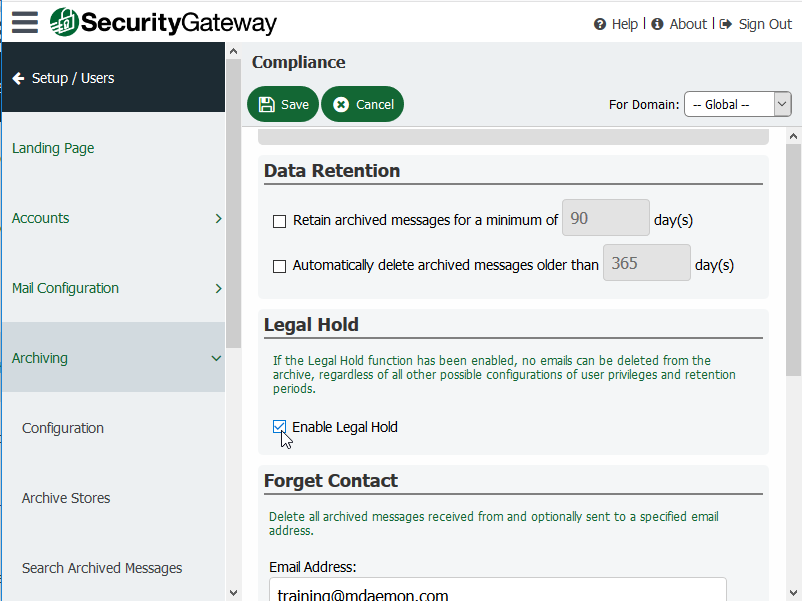 Legal Hold - Security Gateway for Email Servers
