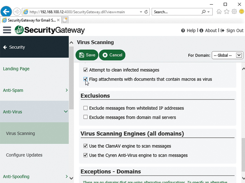 SecurityGateway for Email Servers - Antivirus Flag Macro