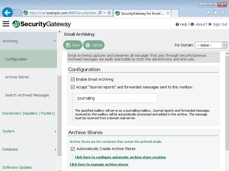 Archiving in SecurityGateway for Email Servers