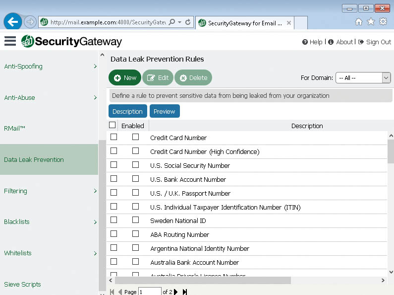 Data Leak Prevention in SecurityGateway