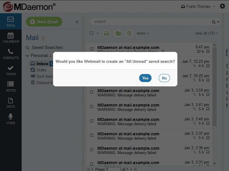MDaemon Webmail - Saved Searches