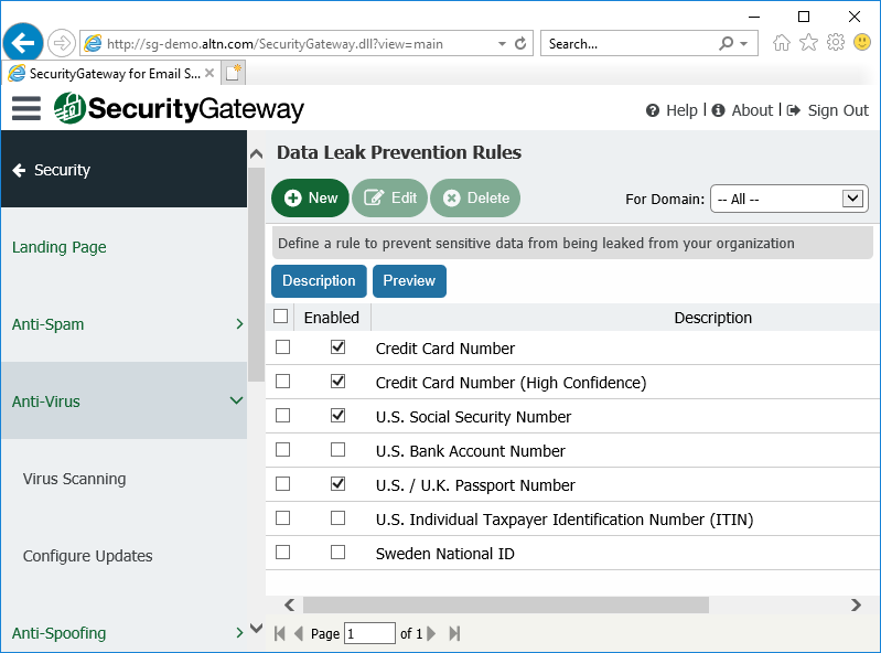 Data Leak Prevention in Security Gateway for Email Servers