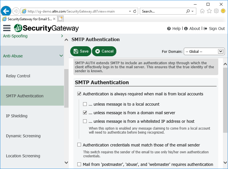 SMTP authentication settings in Security Gateway for Email Servers